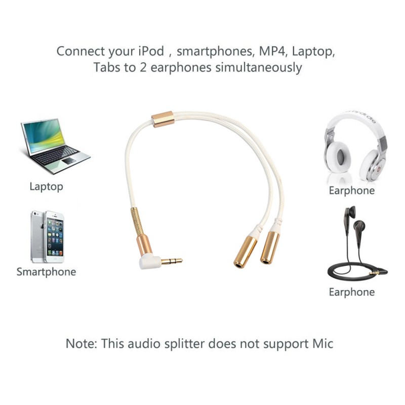 3.5mm Audio Stereo Y Splitter Cable 3.5mm Male to 2 Port 3.5mm Female for Earphone Headset Splitter Adapter for Smart Phone