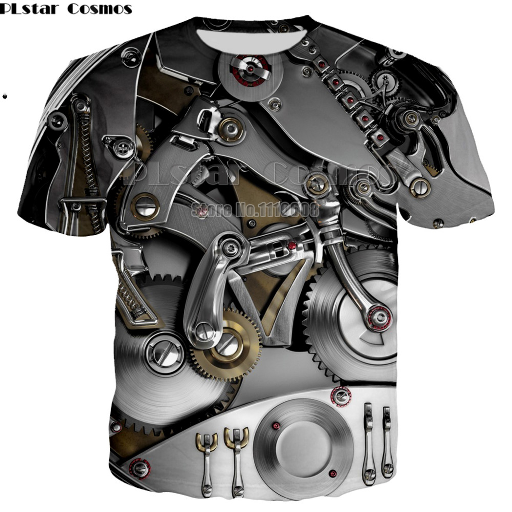 Newest   T  -  shirt   Punk Clothing cool Clothes Mechanical   T     shirt   Tops women men Tees Funny 3d   t  -  shirt   unisex Tee Print large size
