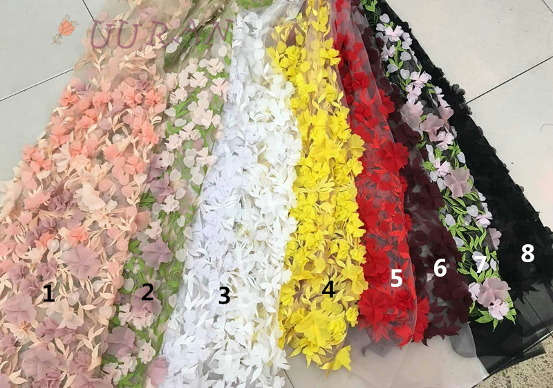 Large Applique 3d Flower White Embroidery Mesh French Tulle African Lace Guipure Fabric Material Sew Wedding Fress