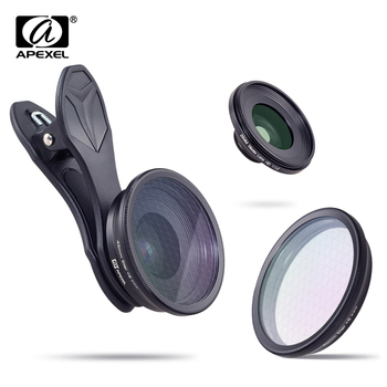 APEXEL Optic phone lens,  25mm 20x super macro lens with star filter mobile photography lente for iPhone Samsung smartphone
