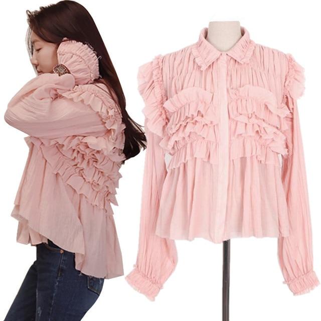 Pink Ruffle Blouses