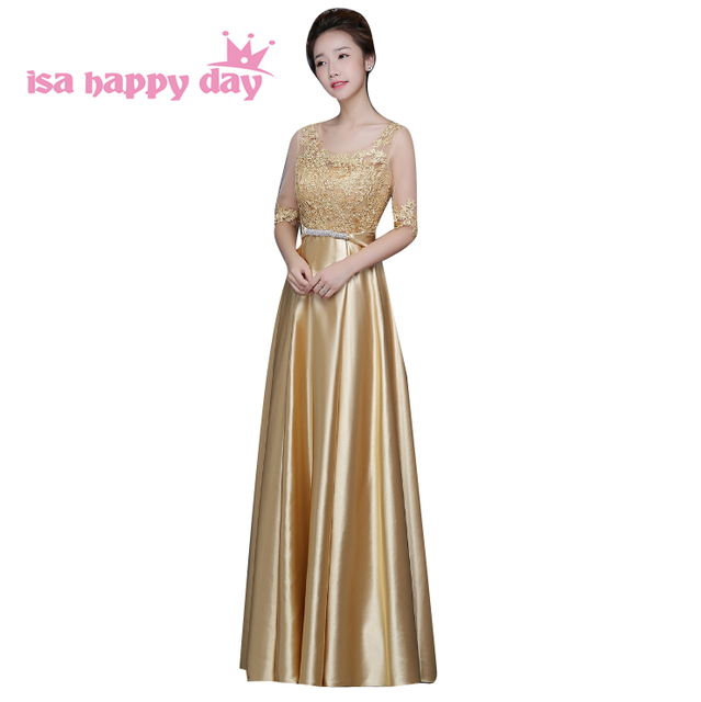 gold floor length dressing gown beaded sister of the bride formal long dress  sexy sleeved evening dress birthday dresses H3769 a4ba5588367d
