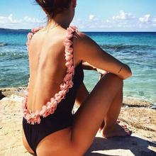 Sexy Brazilian Bikini Pink Floral Swimwear Backless 3D bodysuit Flower Swimsuit Women Cut Out Monokini Maillot De Bain Femme