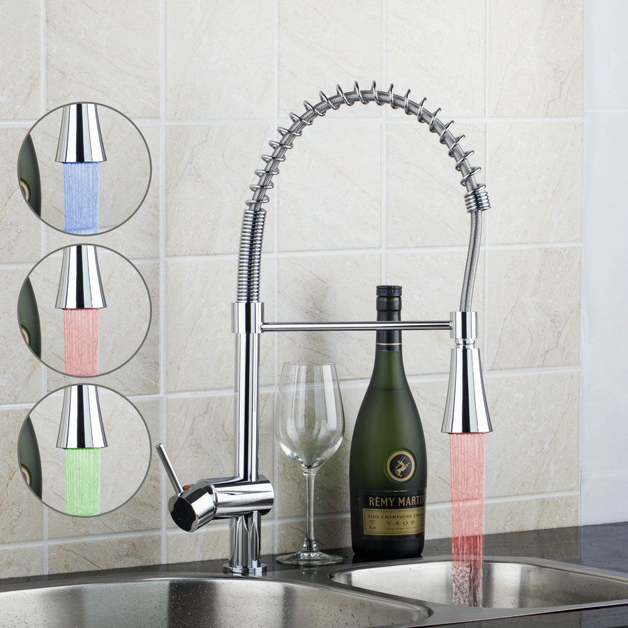 OUBONI Kitchen LED 3 Color Spray Faucet Single Handle Hole Water Tap Chrome Brass Kitchen Washing Basin Sink Faucet torneira