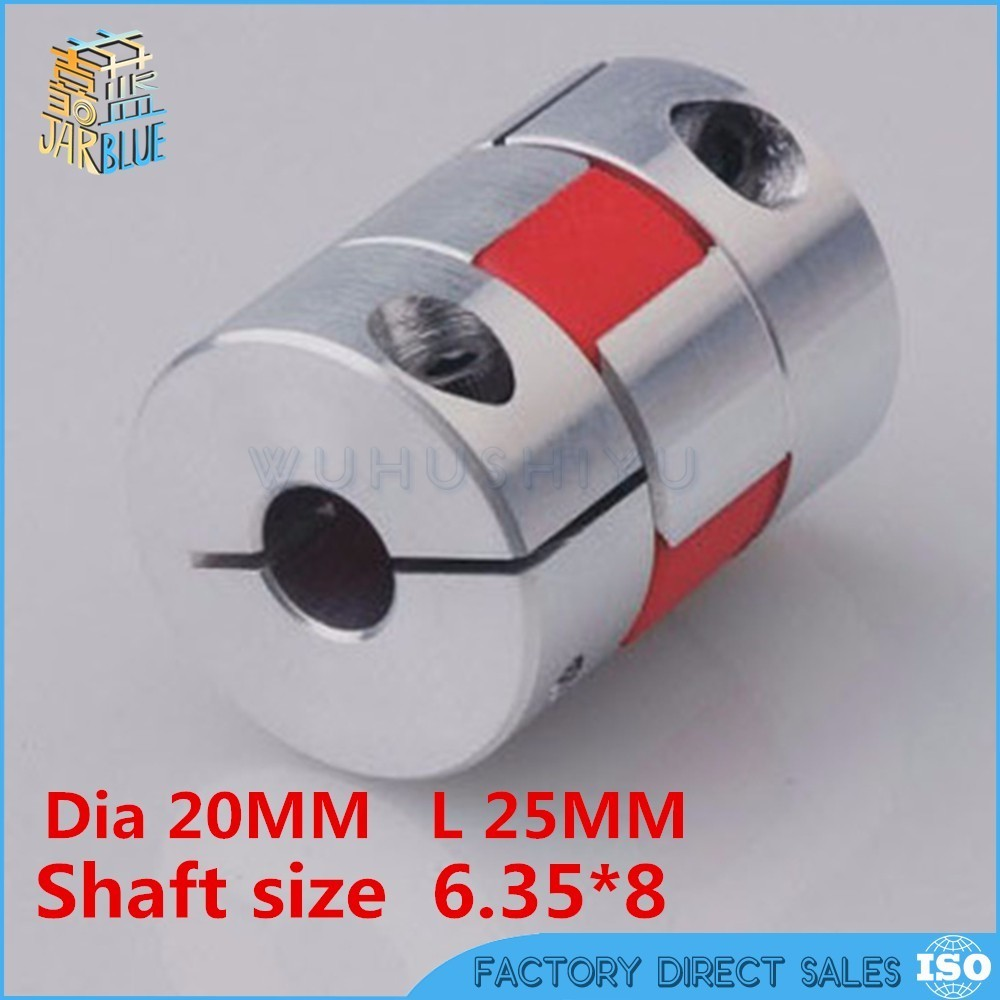 1/4 6.35mm to 8mm Flexible jaw spider coupler stepper motor shaft coupling 6.35*8mm Diameter 20mm Length 25mm jm55c d55mm l78mm clamp flexible jaw coupling high precision free shipping