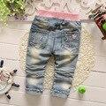 Niños del resorte explosión desgaste de los niños de algodón de mezclilla pantalones vaqueros del bebé pantalones vaqueros del bebé pantalones largos