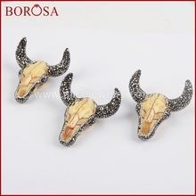 BOROSA Resin Ox Head Pendant Bull Cattle Horn Buffalo Pendant Crystal Rhinestone Pave Zircon Fashion Jewelry for Women JAB635