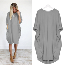 Spring and autumn new style Solid color loose large size S-5XL dress European and American loose pocket long sleeve dress цена