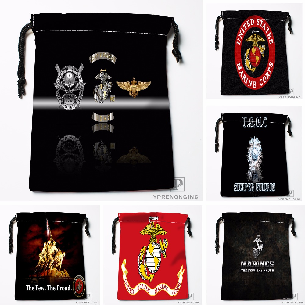 Custom Usmc Battle Hardened Drawstring Bags Printing Travel Storage Mini Pouch Swim Hiking Toy Bag Size 18x22cm#180412-11-37