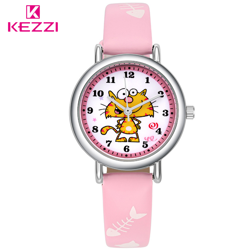 Kezzi New Cartoon Lovely Children Watch Girl Kids Quartz-Watch Leather Watchstrap Wristwatches