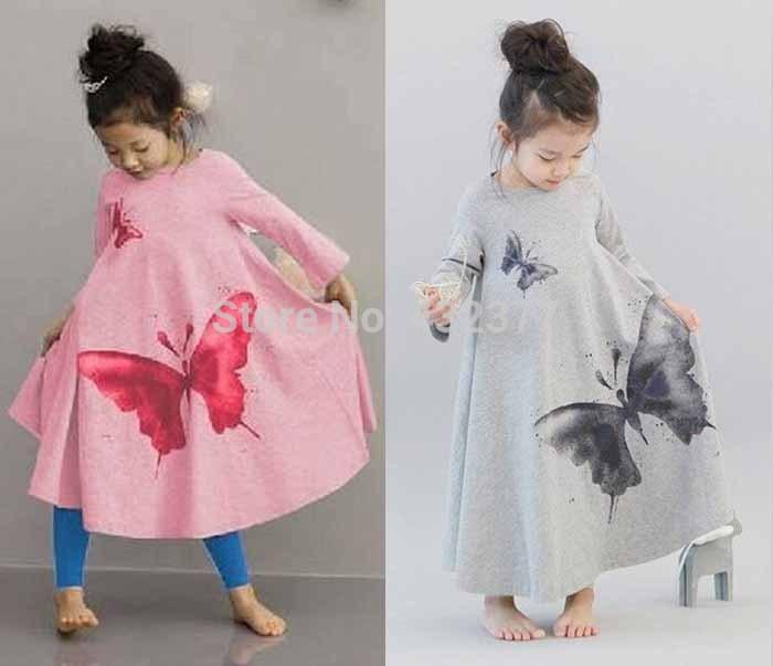 New 2016 Hot sale Baby Girls big butterfly print Dress 3t-8 Kids Beach Dresses for girls toddler girls clothing