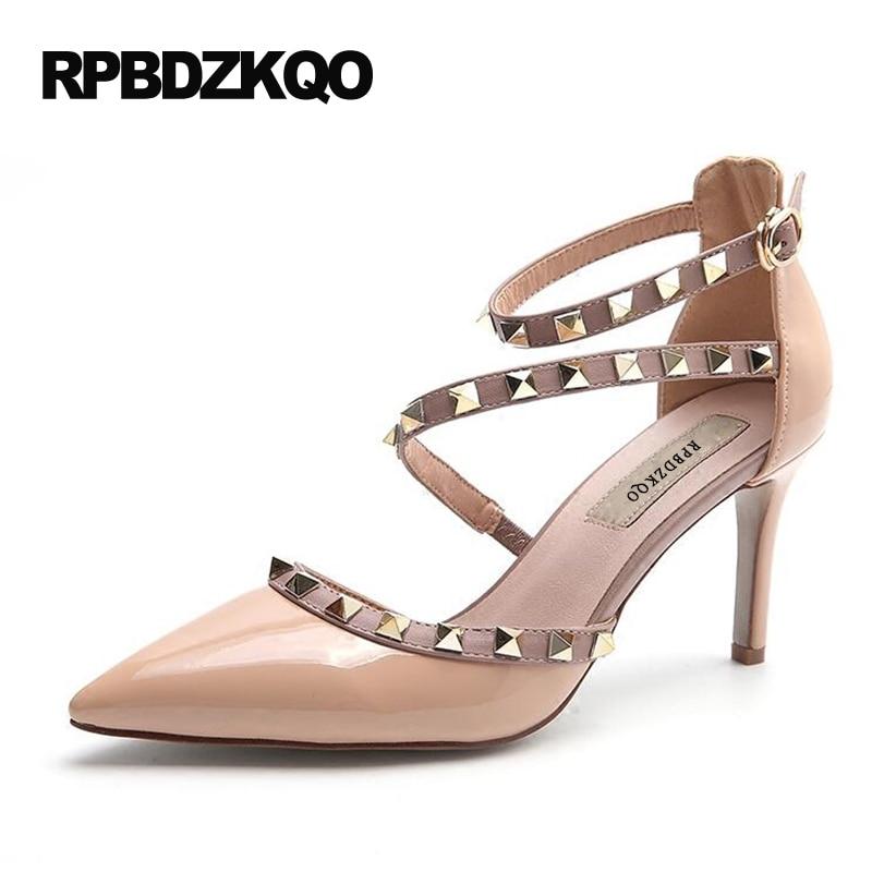 Runway Scarpin <font><b>Nude</b></font> High Heels Pointed Toe Rivet Pumps Fashion Brand Women Shoes 2017 Italian Ankle Strap Big <font><b>Size</b></font> <font><b>9</b></font> 41 Stud