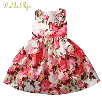 Retail 2015 Kids Casual Dress For Girls With Flower Print Baby Girl Dresses Summer Clothes Vestido