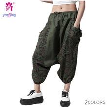 2016 Plus Size Vintage Cotton Linen Pants Women Casual Wide Leg Pants Print Trousers Pantalones Haren Pants Loose Pants 734