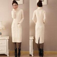 Korean winter turtleneck sweater split long twist after a slim slim knit dress thickening