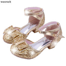 Weoneit Children Princess Sequin Sandals Kids Bowtie Wedding Shoes High Heels  Dress Shoes Party Shoes for Girls Pink Silver Gold-in Sandals from Mother  ... 961dfe5a3c37