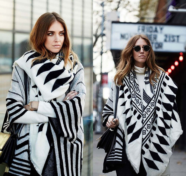 Scarf Luxury Brand Plus Desigual Cachecol Soft Comfortable Pashmina Cashmere Scarf Winter Women Shawl White And Black Striped