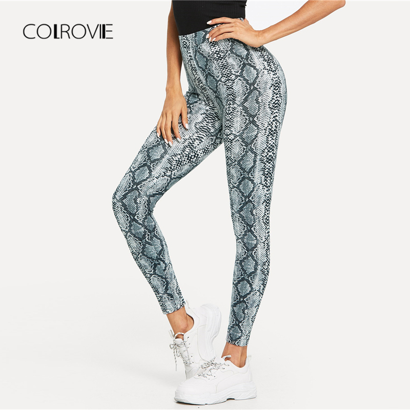 COLROVIE Navy High Waist Snake Skin Active Wear Women   Leggings   2018 Autumn Streetwear Skinny Warm Pants Female Fashion Trousers