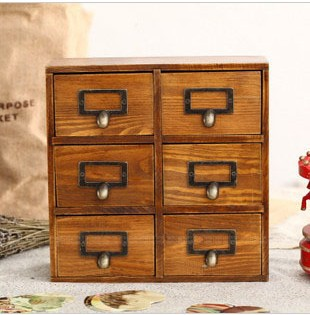 Six Box Vintage Home Decor Wooden Drawer Organizer Storage Cabinets Wood Drawers 26 10 26cm