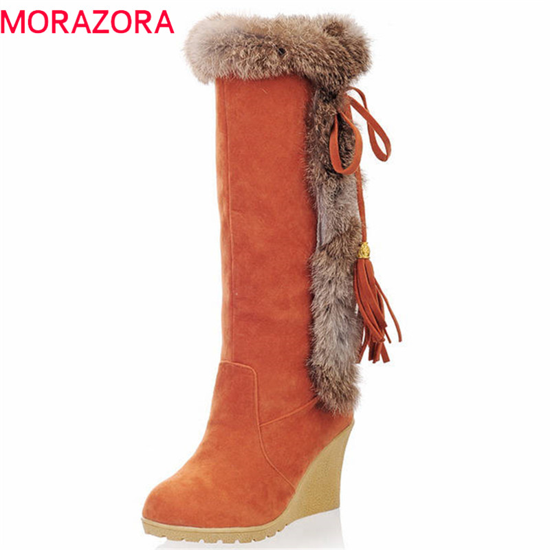 MORAZORA 2018 new arrival knee high boots women flock top quality wedges platform shoes winter keep warm snow boots female women shoes wedges platform knee high boots winter snow booties slip on flock rubber women boots black plush warm soft shoes