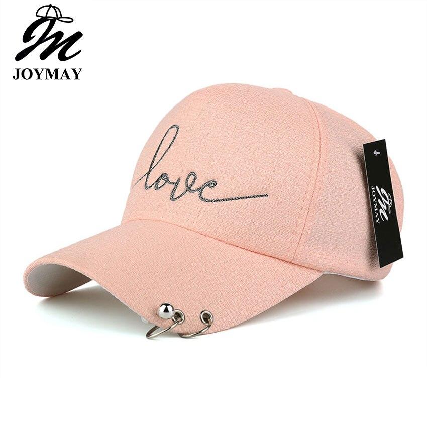 Prix pour JOYMAY 2017 Nouvelle arrivée haute qualité snapback cap fer hoop perle sur la visière amour broderie chapeau pour les femmes casquette de baseball B421
