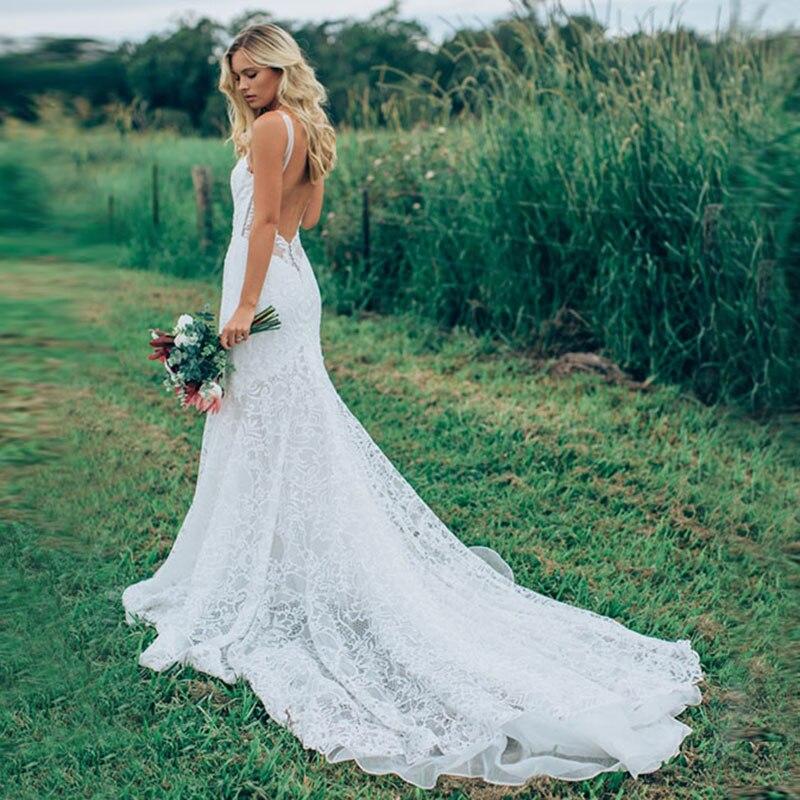 2019 plage sirène robes de mariée Sexy dos nu v-cou robe de mariée en dentelle sans manches sur mesure vestido de casamento