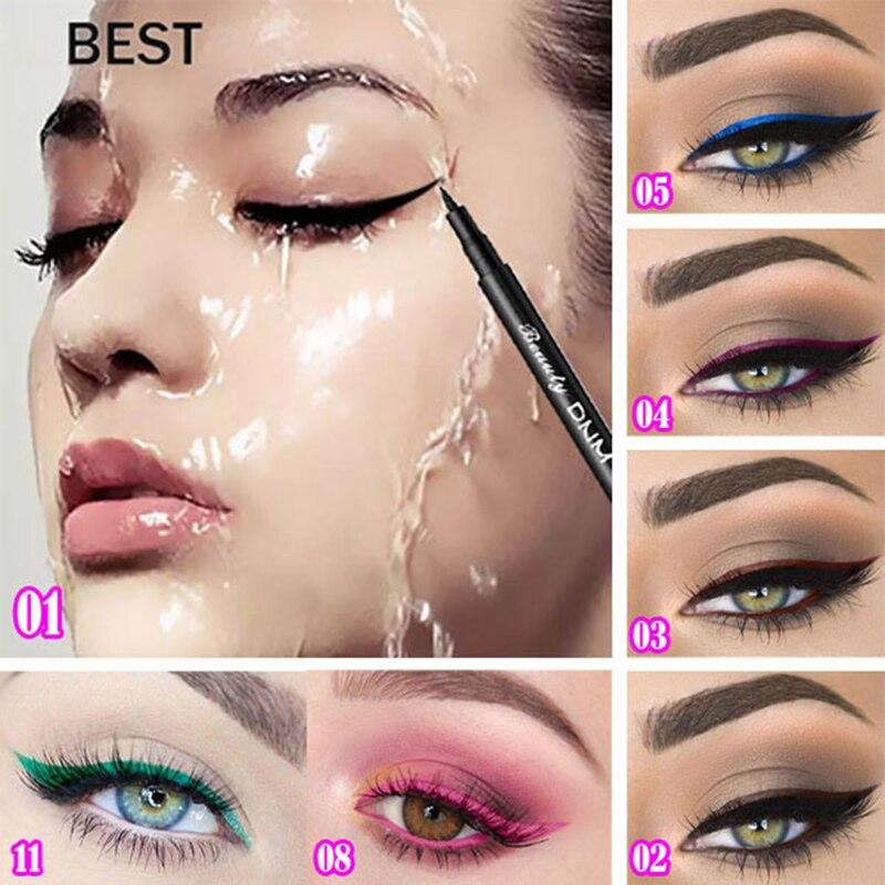 DNM 1pc 12 Colors Matte Liquid Eyeliner Pencil Durable Natural Black Blue Eyeliner Colors Waterproof Pigment Eye Liner TSLM2