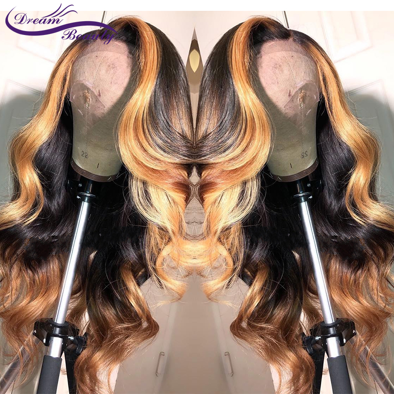 Ombre Hightlight Blonde Brazilian Remy Human Hair Lace Front Wigs for Women With Baby Hair Ombre