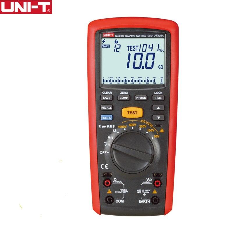 UNI-T UT505A 1000 V RMS Verdadeiro Digital Handheld Multímetro Ohm Voltímetro Medidor de Resistência de Isolamento Tester Megger Megohmmeter