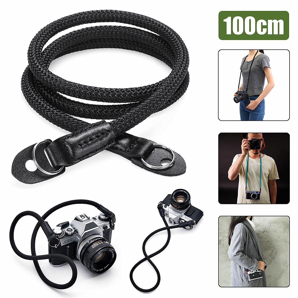 Cuerda Cámara Correa cuero negro trenzado hombro solo cuello correa hecha a mano cuerda para Micro cámara Digital para Leica para Sony