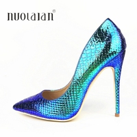 2019 Brand fashion Women Shoes Blue Snake Printed Woman Shoes Sexy Stilettos High Heels 12cm/10cm/8cm Pointed Toe Women Pumps