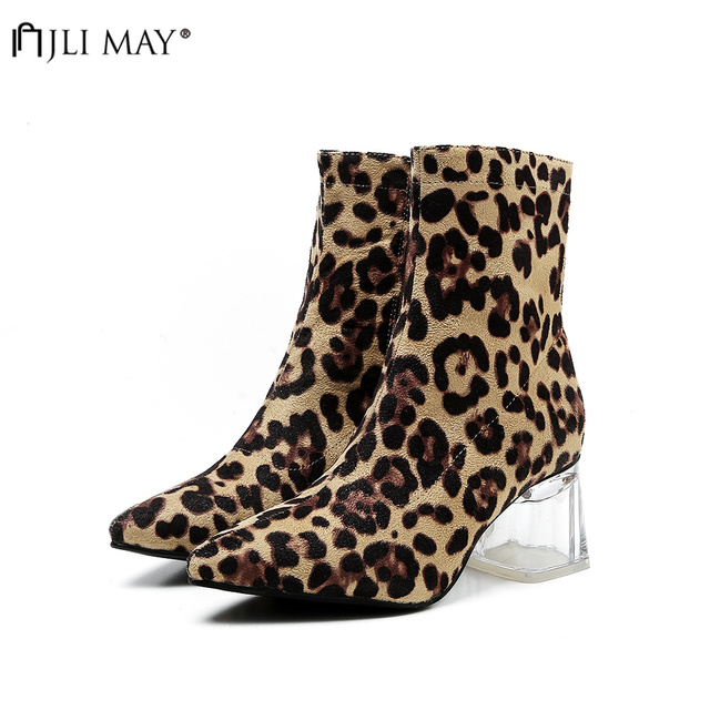 a5cf53cc220 JLI MAY Women Suede Zipper Boots Leopard print Ankle Boots Winter Square  Thick heel Pointed toe Ladies Sexy shoes Chelsea Boots