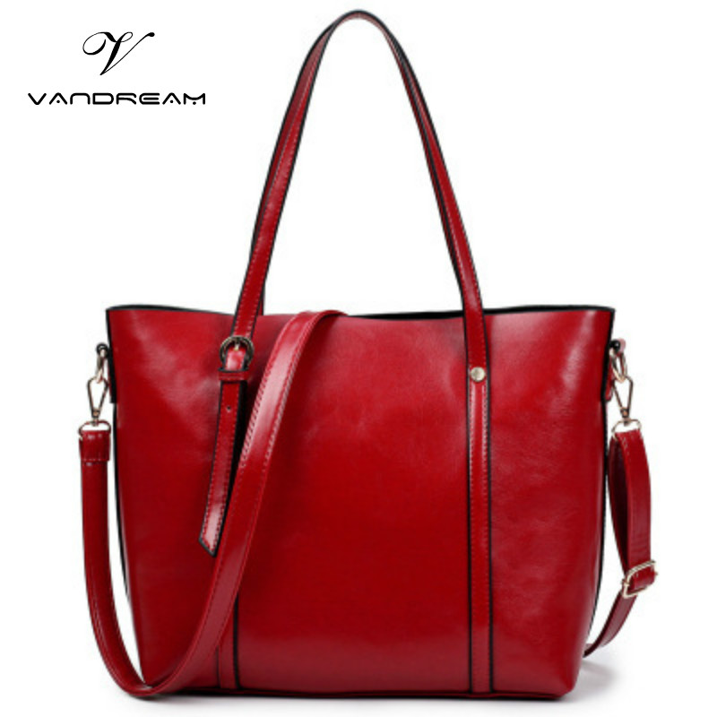 2017 Fashion Women Pu Leather Handbags Black Red Large Capacity Tote Bag Shoulder / Messenger / Crossbody Bag for Lady Girls women shoulder bags leather handbags shell crossbody bag brand design small single messenger bolsa tote sweet fashion style