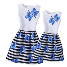 2017 Summer Mother Daughter Dresses Family Matching Clothing Teens Girls Printed Dress Mom and Girl Clothes Mae e Filha Vestidos
