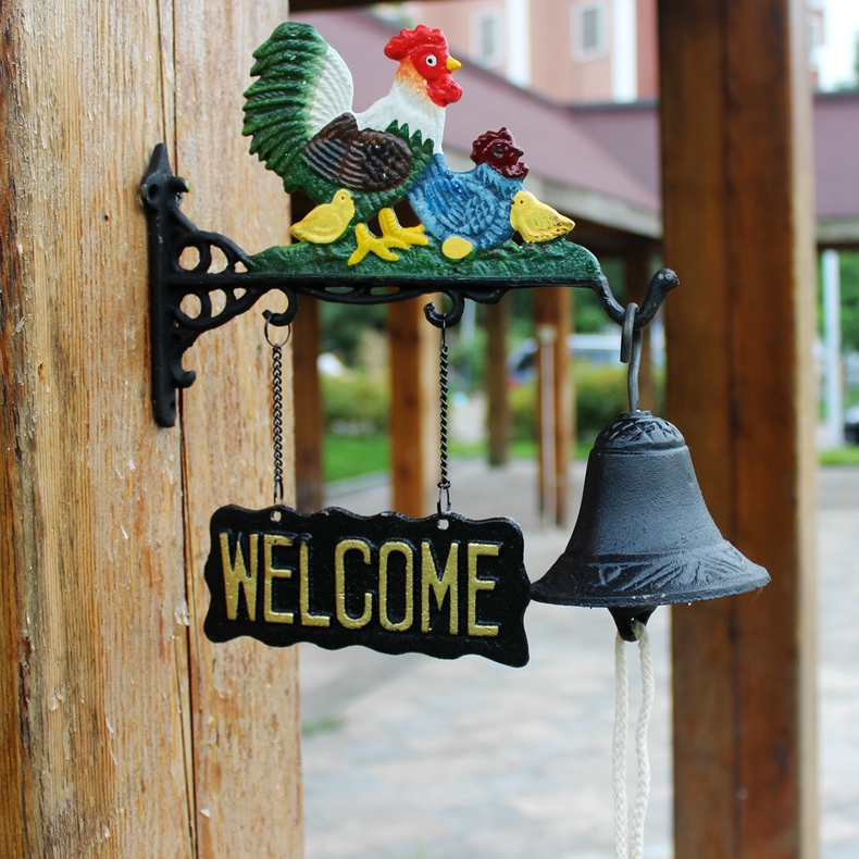 US $78 85 5% OFF|Chicken Family Welcome Dinner Bell Cast Iron Door Bell  Chime Farm Ranch Country Decoration Outdoor Garden Ornaments Home Love-in  Wind