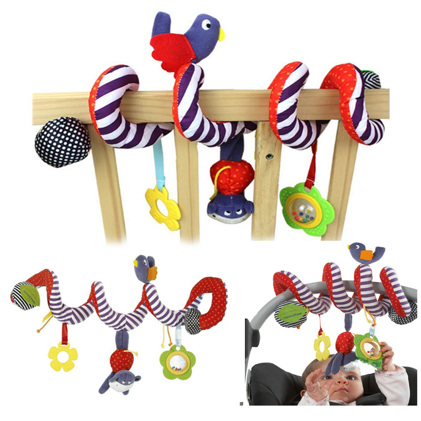 Colorful Baby Bed Hanging Bird And <font><b>Dog</b></font> Baby <font><b>Crib</b></font> Mobile Rotating Cute Baby Rattles Stroller Hanging Toy Baby Gift CRN002
