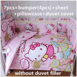 Promotion! 6/7PCS Cartoon Baby cot bedding set girl crib bedding set 100% cotton baby bedclothes,120*60/120*70cm