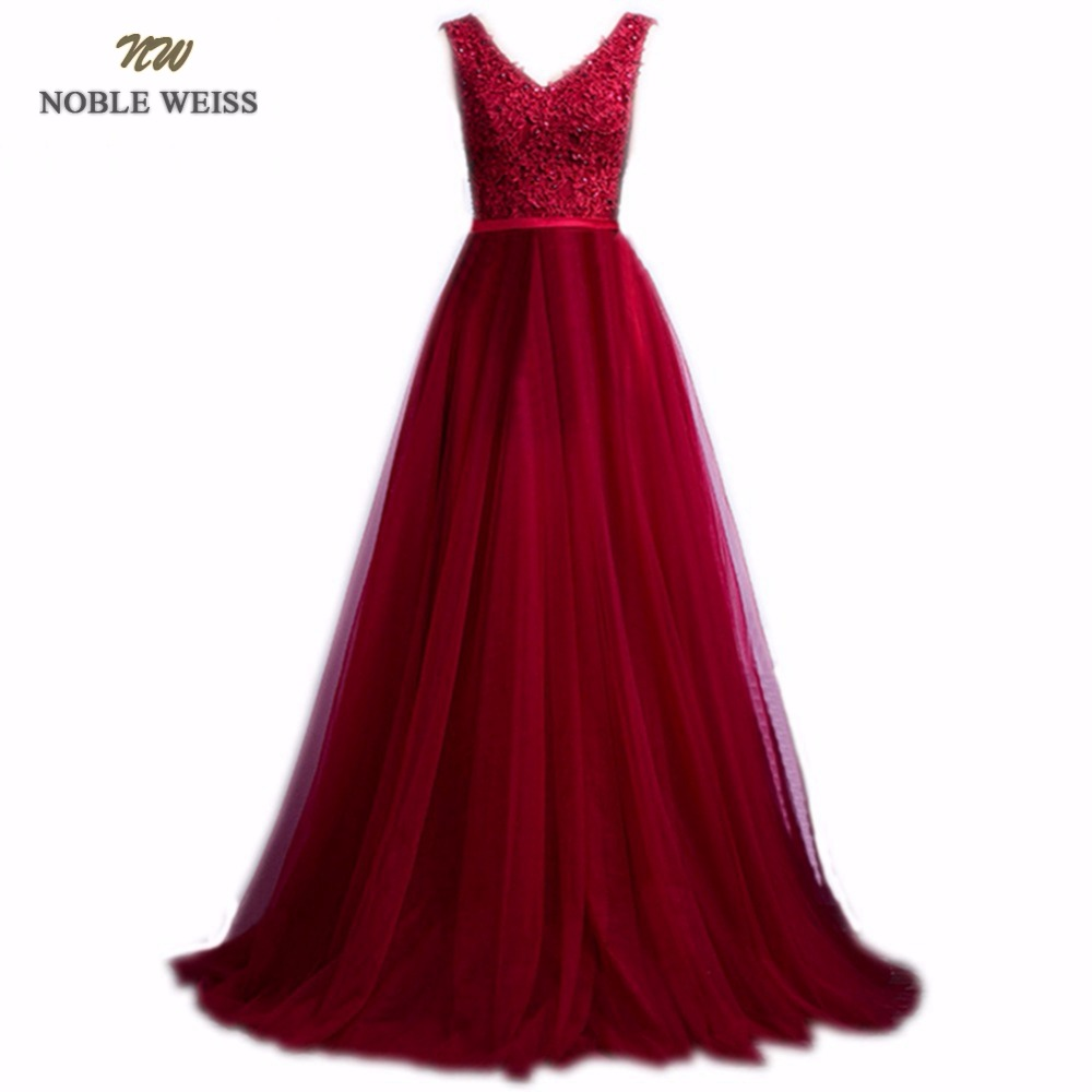 NOBLE WEISS Elegant V Neck A Line Sweep Train Lace Beading Evening Dress Cheap Prom Dresses