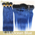 3 Pcs of Malaysian Ombre 1B Blue Hair Extensions With Full Lace Frontal 1B/Blue 100% Blue Remy Hair Weave Bundles With Closure