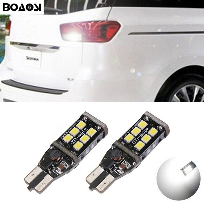 BOAOSI 2х Т15 лампы w16w СИД canbus автомобиля Обратный свет автомобиля 15SMD светодиодные Резервное копирование задние лампы для Киа Рио Sportage К2 К3 К4 К5 Cerato-в январе Соренто души