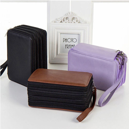 Hot Sale 72 Holder 4 Layers Handy PU Leather School Pencils Case Large Capacity Colored Pencil Bag For Student Gift Art Supplies 124 slots 4 layers pencil bag case portable children school stationery big capacity for colored pencils student office supplies
