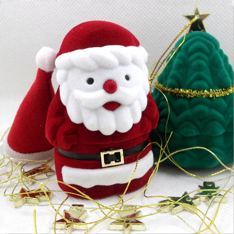 Santa Claus Design Ring Earring Ear Stud Corduroy Earbob Box Red Case Container Holder Jewelry Box Christmas Gift Box