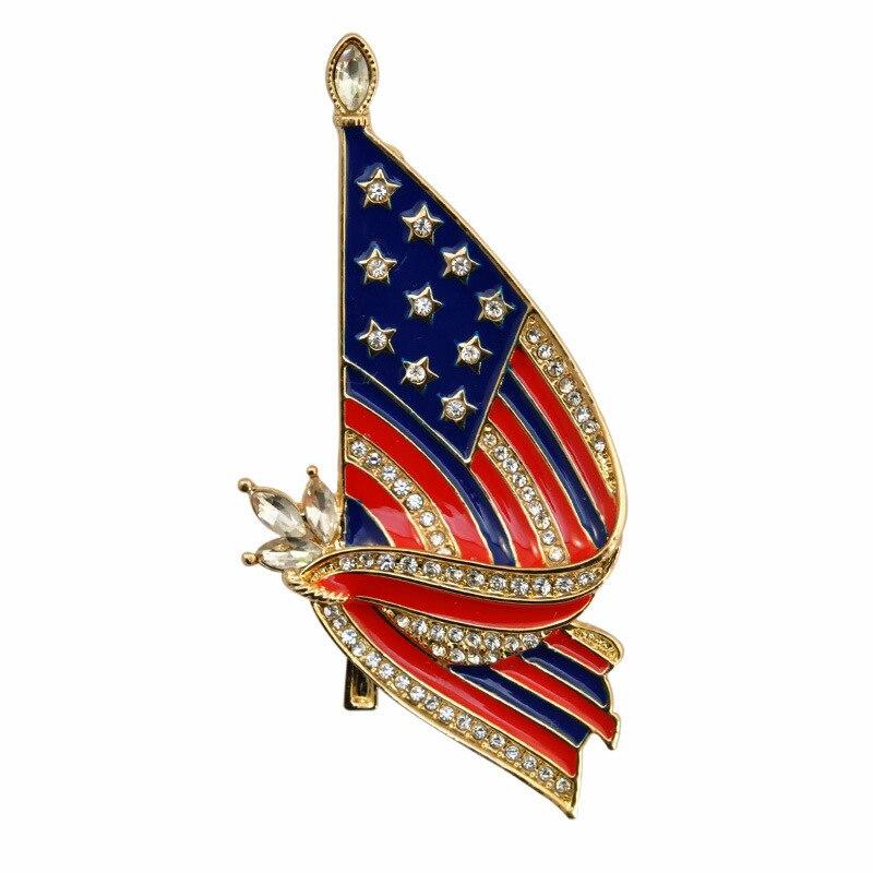 20 pcs/lot broche en forme de coeur en cristal émail coloré drapeau de l'amérique