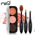 MSQ New Fashion 3 Cor Fosca ou Brilho Paleta da sombra cosméticos Conjunto de Maquiagem paletas de Sombra de Olho Com 3 pcs Maquiagem Oval escova