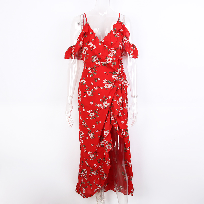 006aebd635 Off Shoulder Red Maxi Dress Women 2017 Print Ruffle Chiffon Sexy Robe Femme  Beach Dresses Vintage Floral Long Summer Dress-in Dresses from Women's  Clothing ...