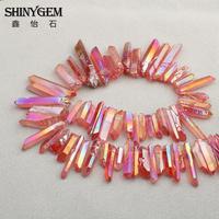 Titanium Donker Roze Ruwe Kristal Pijler Top Geboord Druzy Hanger Kralen, Rock Crystal Quartz Afgestudeerd Briolettes Punt Kralen