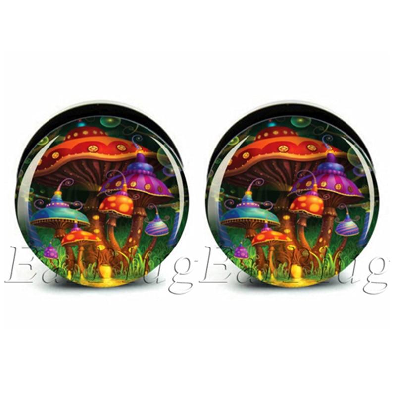 1 pair magical mushroom acrylic screw ear plug gauges tunnel flesh tunnel body piercing jewelry PAP0223