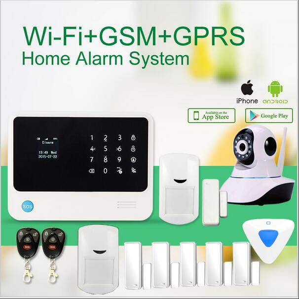 Touch keypad Smart home alarm with App control G90B plus Wifi GSM alarm system work with wifi ip cameras/ wireless siren