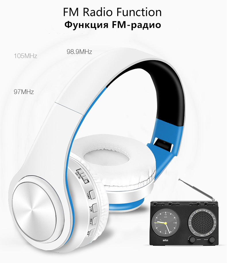 Foto of radio function Wireless foldable headphones with mic. Foldable wireless earphones for mp3