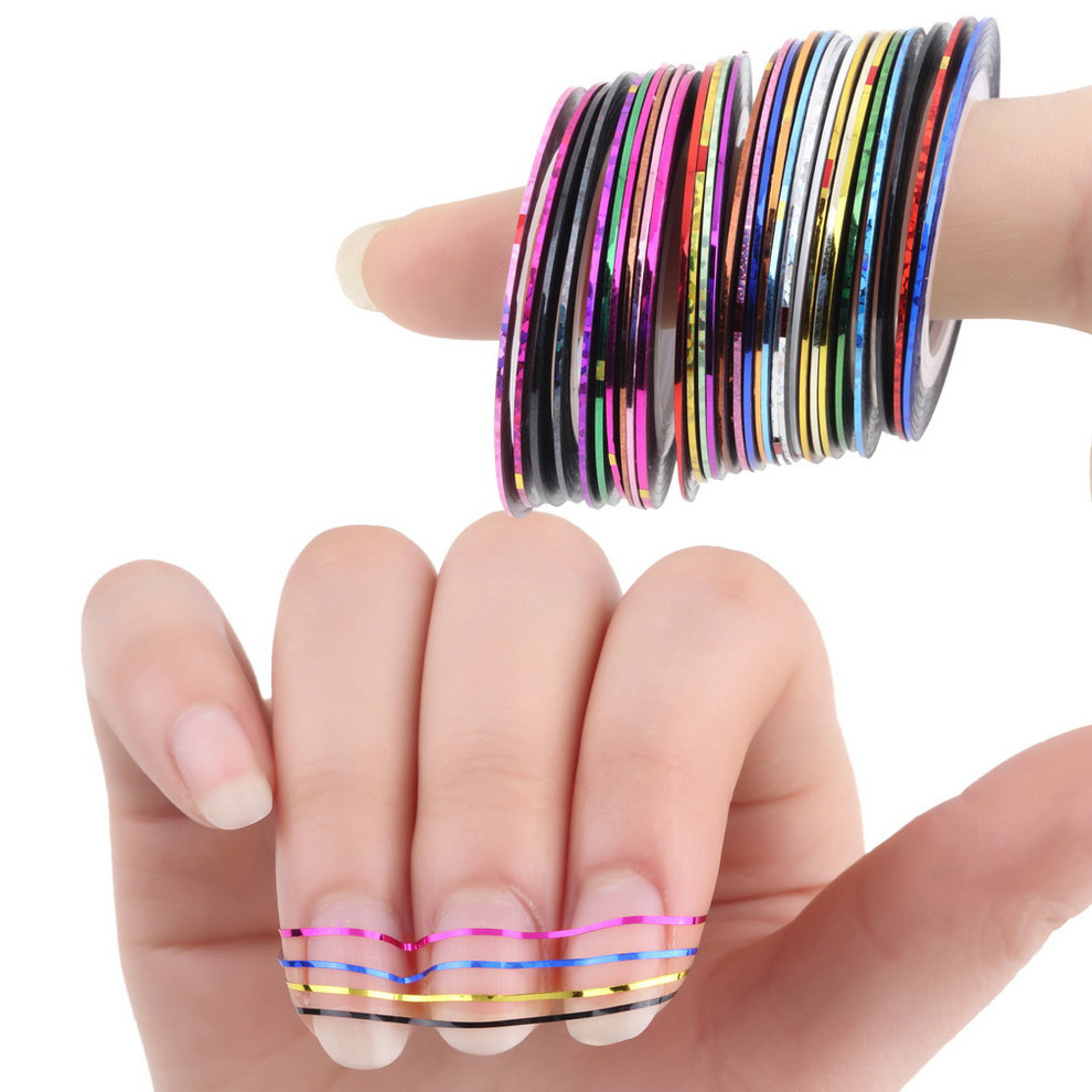 30Pcs Mixed Colorful Beauty Rolls Striping Decals Foil Tips Tape Line DIY Design Nail Art Stickers for nail Tools Decorations new 30 rolls matte glitter nail striping tape line set multi color diy nail tips nail art decoration design nail stickers tool